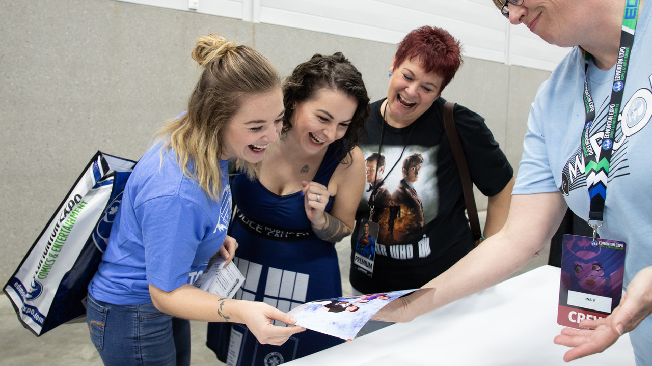 Fans looking at a photo op at the Calgary Expo