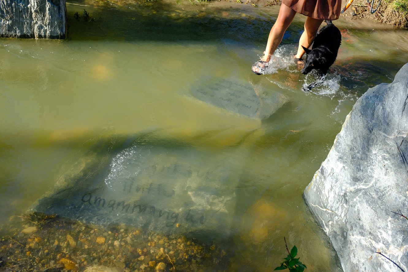 Kablusiak's-stepping-stones,-held-by-waters-of-the-Elbow-River